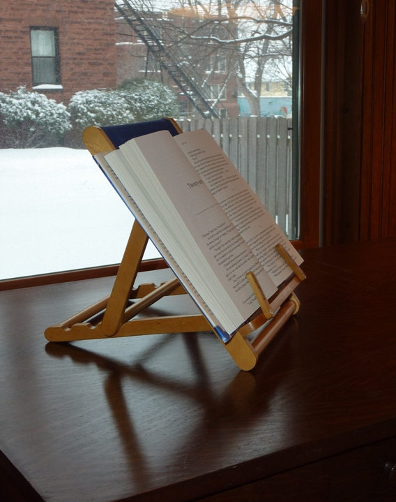 A book chair like this can hold a book or a tablet in a much easier position to read comfortably.