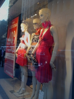 Mannequins in a New York City shop window