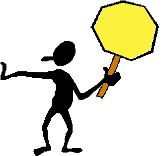Figure holding a slow down traffic sign
