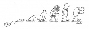 The famous evolution cartoon ending with a person using a smartphone