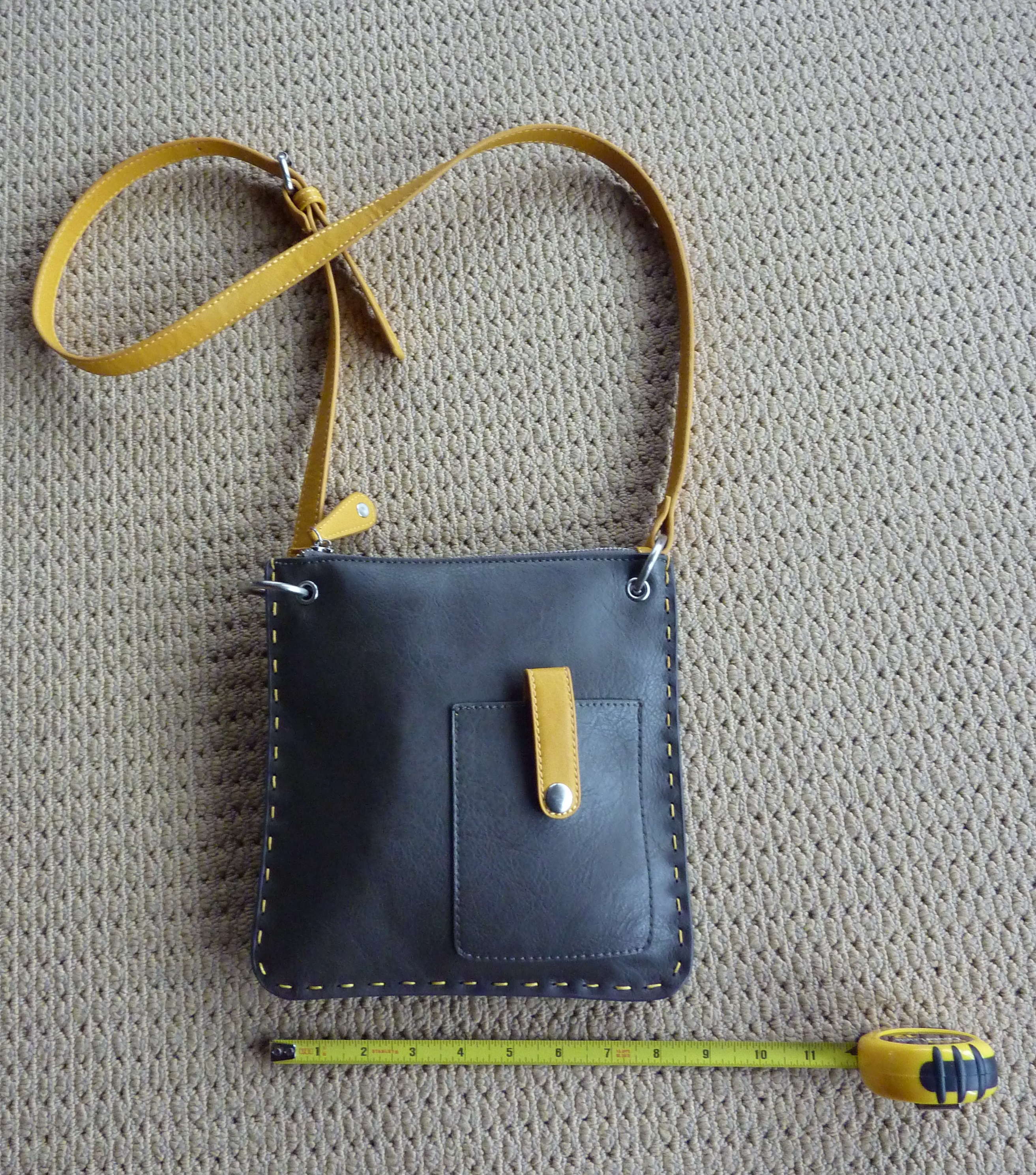 small grey leather shoulder bag