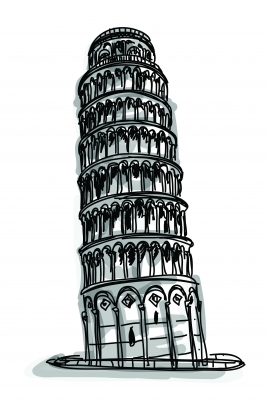 sketch of tower of pisa