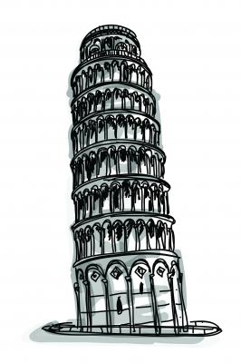 sketch of tower of pisa