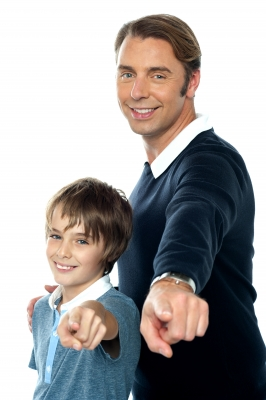 father and son pointing
