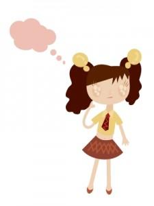 Cartoon of girl thinking