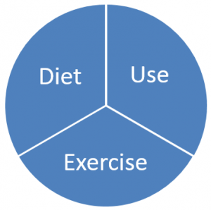 pie graphic showing diet, exercise and Use