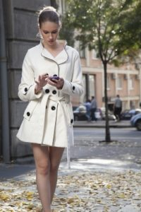 girl walking and texting