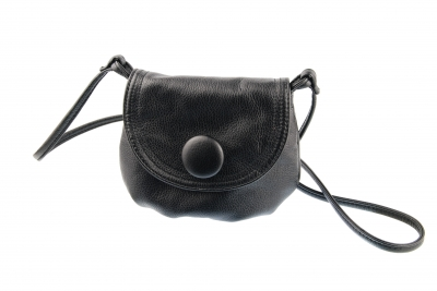 photo of black leather handbag