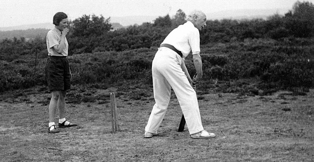 old photo of F.M. playing cricket