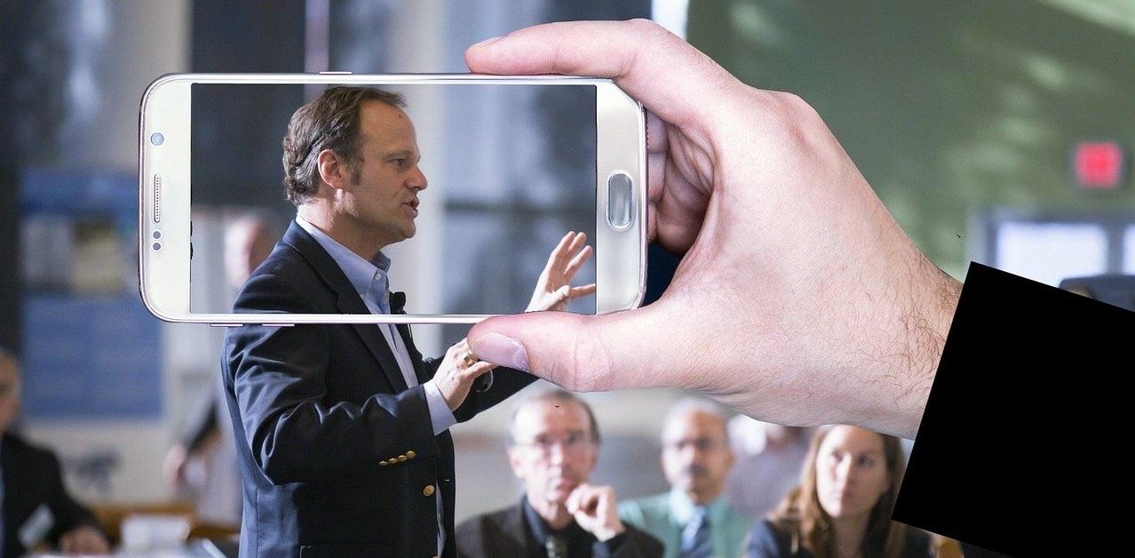 man doing public speaking